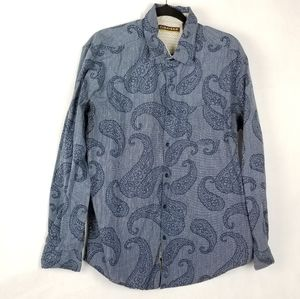 Cubavera Blue Paisley Print Long Sleeve Button Up